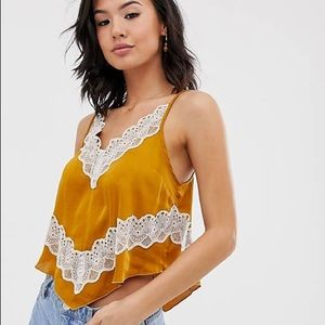 Free People Your Eye Lace Cami in Gold NEW